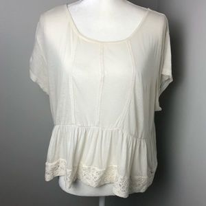 Element Large Babydoll Top Ivory Lace accents